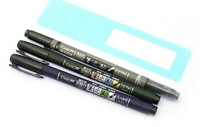 TOMBOW Fudenosuke Brush Pen - A set of 3 Pens ( Soft / Hard / Double sided )