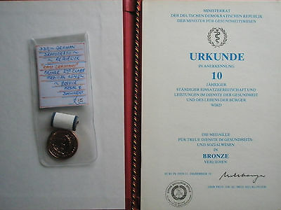East German medical long service medal with certificate