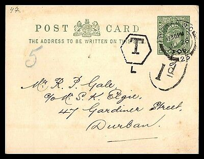 1906 London UK half penny classic postal card to Durban south africa