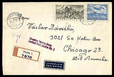 Czechoslovakia Praha cover registered airmail to Chicago Illinois 23 rate