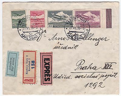 Czechoslovakia Karlsbad Express 1935 Registered Airmail Cover to Prague