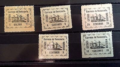 Early   Venezuela Stamps  Mint--Hinged(4)  Used-- Hinged(1)