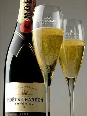 Moet Chandon Champagne Imperial Flutes X 2 Unboxed Brand New