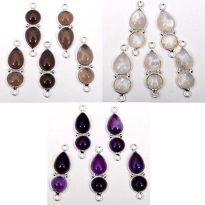 Real Chalcedony & Other Cabochon Gemstones Connectors 925 Sterling Silver C-5277