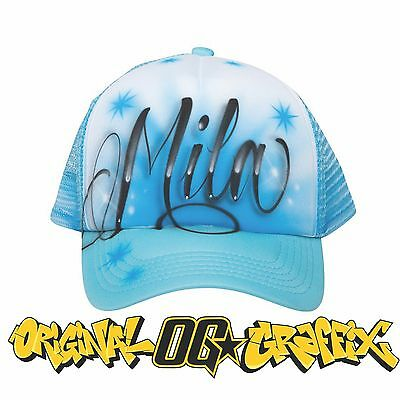 Custom Airbrush Graffiti Trucker Cap with Your Name / Word and Background Design