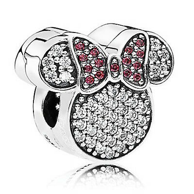 MINNIE MOUSE EARS CZ 925 Sterling Silver Solid Charm Bead for Bracelet