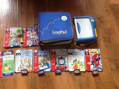 Leap Frog LeapPad Learning System, 7 Books & Cartridges, Case, Spider-man Pen