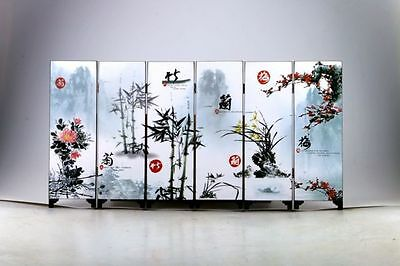 "Good Chinese Lacquer Handwork Painting ""梅兰竹菊 Screen Scroll NR"