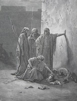 Jezebel by Gustave Dore Antique Print C. 1870 (161) Holy Bible