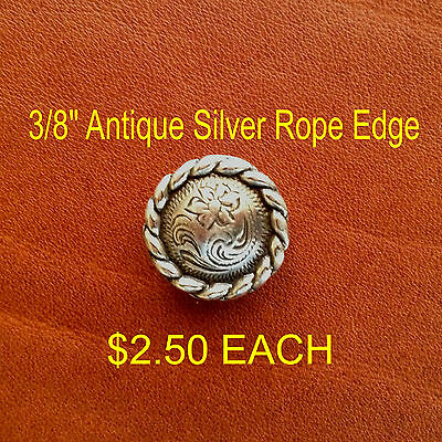 Antique Silver Rope Edge Concho 3/8""
