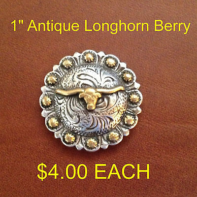 Antique Longhorn Berry Concho 1""