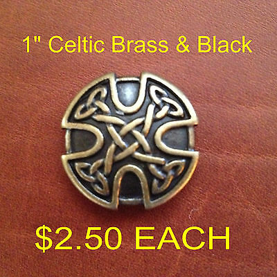 Celtic Brass and Black Concho 1""