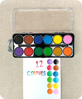 12 Colour Painting Watercolour Set Dry Bright colours Kids Art Travelling Paint