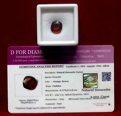 2.503 Ct Excellent Natural Hessonite Garnet Loose Gemstone with Lab Certified