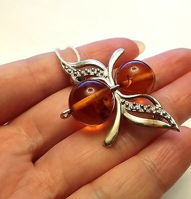 Genuine Baltic Amber (not pressed!) and Solid 925 Silver Bee Brooch