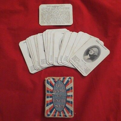 """ANTIQUE """"THE GAME OF UNCLE SAME"""" CARD GAME 1910 by George Adam Kraner IOB"""