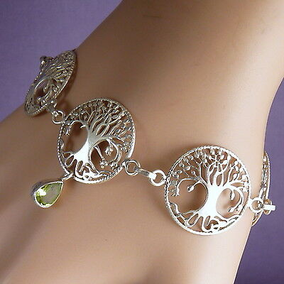 'TREE OF LIFE' SilverSari Bracelet with PERIDOT ~ 925 Sterling Silver ~ Adjust.