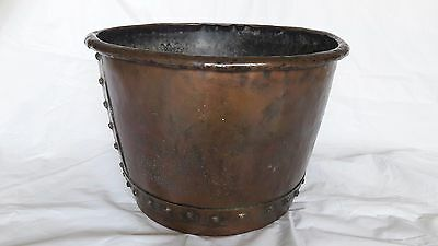Victorian Large Antique Copper Garden Planter, Log Basket