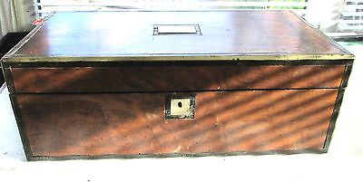Antique Victorian Writing  Slope/Box Walnut  Wood with Brass   45cms Wide No Key