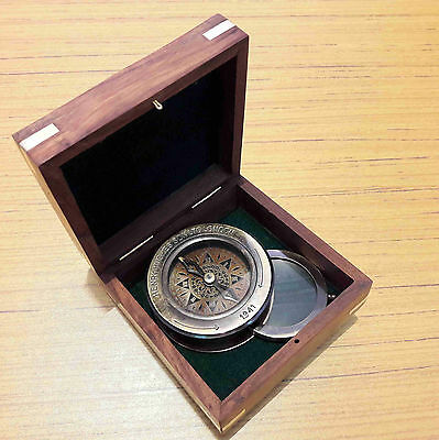 Antique Brass Flip Out Compass Magnifier With Wooden Box Marine Collectible