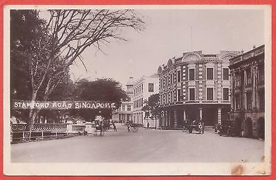 Singapore 1920s real photo p/card Stamford Road (MPH at right)