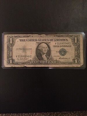 1935 F Series Silver Certificate Blue Seal Vintage Piece US Currency $1 Dollar