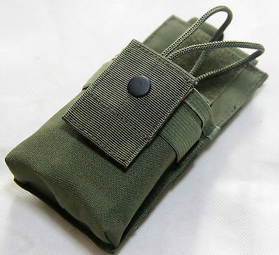 New Airsoft Molle Webbed Belt Tactical Short Radio Pouch Bag OD Green