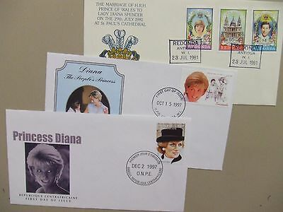 Three Lady Diana fdc