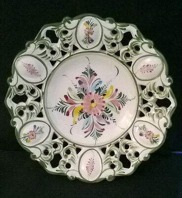 Beautiful Portugal Hand Painted Wall-Plate with Reticulated Rim. Carvalhinho-ish