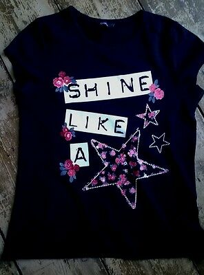 Girls Black White & Red Floral Star Print Top By GEORGE Age 10-11 Excellent Con