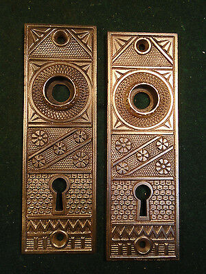 "BEAUTIFUL PAIR of EASTLAKE F.C. LINDE CAST BRASS BACKPLATES 5 1/4"" (4738)"