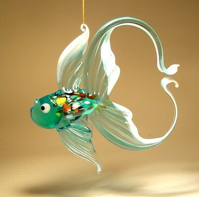 Blown Glass Figurine Art Hanging Aqua and White FISH with Arched Tail Ornament