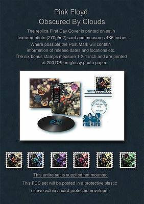 Pink Floyd Obscured By Clouds FDC & Replica Stamp Set