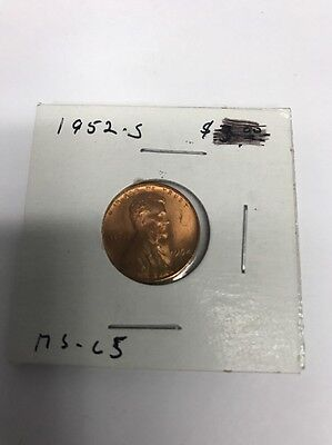 1952-S Lincoln Head Wheat Cent Penny 1c Uncirculated Great Strike!