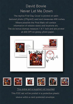 David Bowie Never Let Me Down FDC & Replica Stamp Set