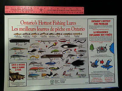 Vintage 1990's Set of 4 Forest Fire Prevention Laminated Placemats Fishing Lures