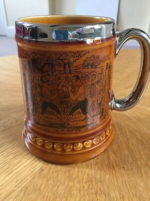Vintage Treacle Glazed Lustre Tankard Lord Nelson Boxing Illustration.