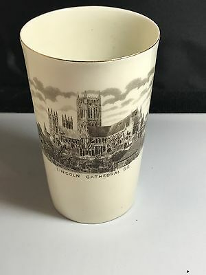 Antique Goss Crested China Lincoln Crest Cathedral  Print Tumbler Cup Beaker
