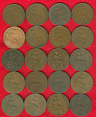 Lot of Twenty (20) Half Penny Coins - Mixed Dates 1902 to 1931