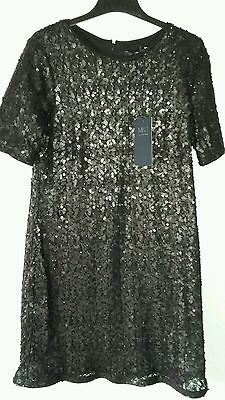ladies M&S black sequined Christmas,Party dress size 14