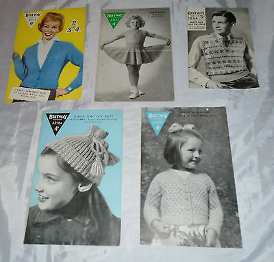 Bestway Lot Of 5 Vintage Knitting Patterns