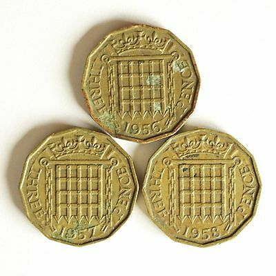 Three Elizabeth II brass THREE-PENCE coins dated 1956 to 1958