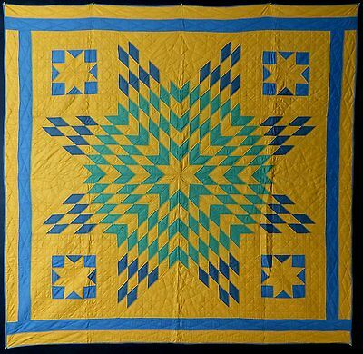 Antique Lone Star Variation Quilt, Unusual Colors, Cotton, C. 1930-45?, Unused!