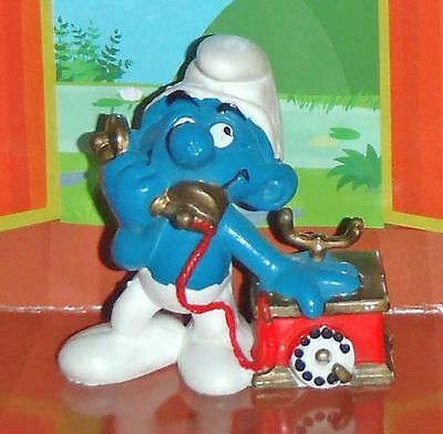 Vintage Smurf With A Small Cradle Phone 1980 Smurf Lot