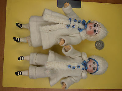 2 Antique snow Kids  Dolls  dollhouse doll with glass eyes Germany  Kister 1900-