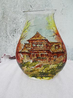 Kalina Poland very large glass vase with Hand painted house signed  by Artist