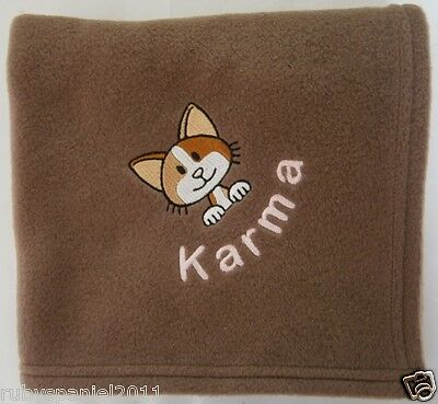 CAT / KITTEN Persoanlised Embroidered Super Soft Pet Blanket - Choice of Colours