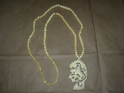 """Vintage Chinese Hand Carved Bovine Cow Bone Floral Pendant Beaded Necklace 29"""""""