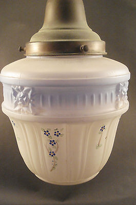Antique 1930s Frosted & Blue Glass Globe Hand Painted Ceiling Light Fixture