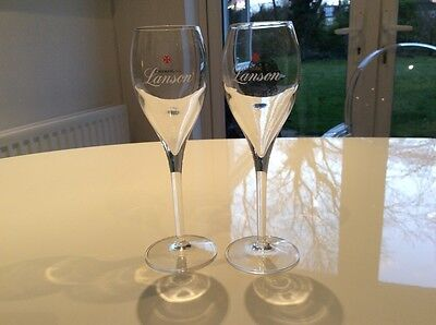 2 Lanson Champagne Glass Flutes In Crystal 20cm